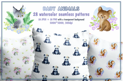 Baby Animals. Watercolor seamless patterns