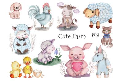 Cute Farm. Watercolor illustrations.