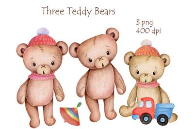 Three Cute Teddy Bears