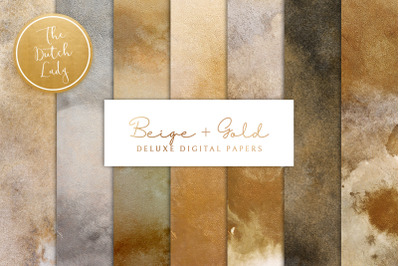 Digital Backgrounds & Papers - Beige & Gold