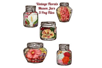 5 Floral Ephemera Mason Jars Scrapbook Embellishments
