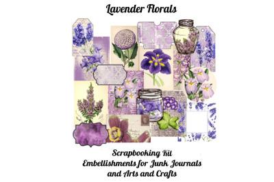 Lavender Florals Printable Scrapbook Kit&2C;