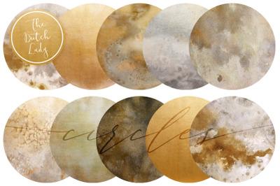 Beige & Gold Circle Clipart Set