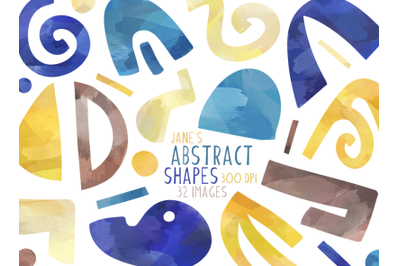 Watercolor Abstract Shapes Clipart