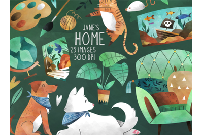 Watercolor Home Clipart