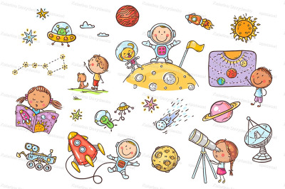 Cartoon space and astronauts set, vector cliparts for kids