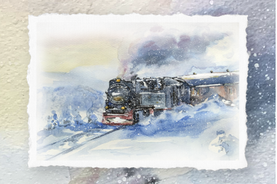 Train to the North - Watercolor Painting