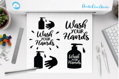 Wash Your Hands SVG Cut Files. Hand Wash Awareness Clipart.