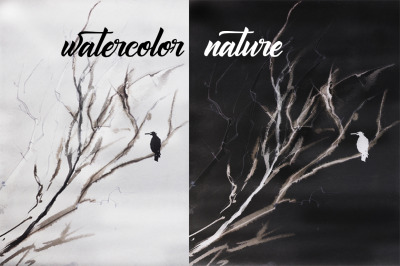 watercolor landscape and nature as bird on a tree
