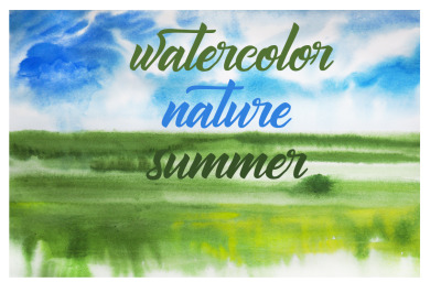 watercolor summer landscape and nature  field and tree