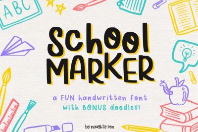 School Marker Font + Doodles