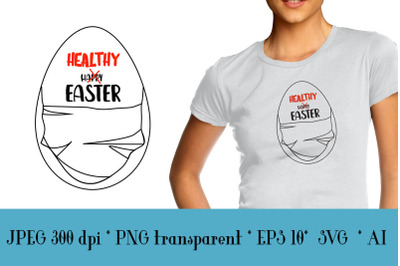 """Easter relevant poster saying """"healthy easter"""""""