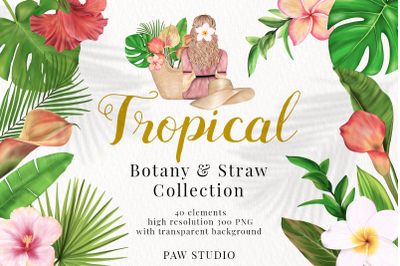 Tropical Illustrations of Flowers, Leaves. Girl Sitting Back in Straw