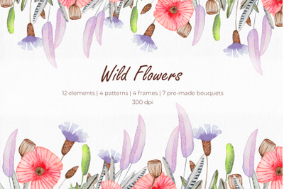 Wildflowers Watercolor Clipart Set