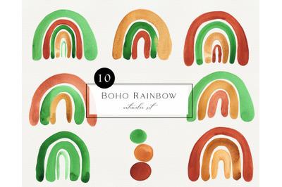 Watercolor Boho Rainbow Clipart. Hand painted terrakota green rainbow