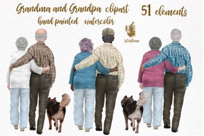 Grandparents clipart, Grandma and Grandpa, Older people art
