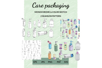 Hand drawn sketch of care packaging. Small plastic container