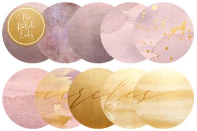 Blush & Gold Circle Clipart Set