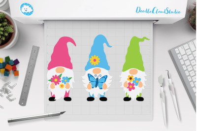 Spring Gnomes SVG Cut Files, Gnome Spring Clipart.