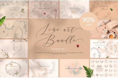 Line Art Floral Graphic Bundle 90% OFF