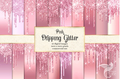 Pink Dripping Glitter Digital Paper