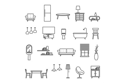 Line furniture. Armchair, sofa and tv. Couch, kitchen table and fridge
