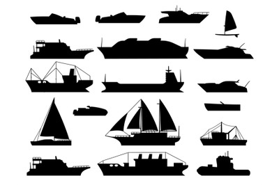 Maritime vessel silhouette. small sailboat, travel cruise boats and sh