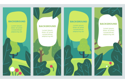 Minimal summer backgrounds. Colorful design landscape template with le