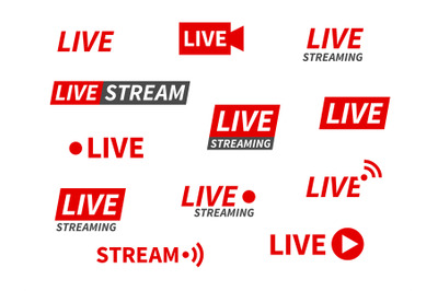 Live streaming icons. Broadcasting video news, tv stream screen banner