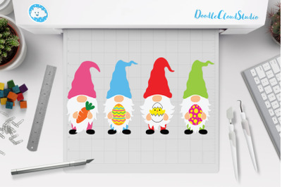Easter Gnomes SVG Cut Files, Gnome Easter Clipart