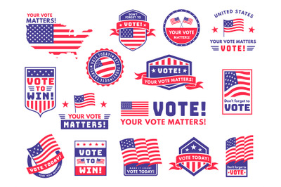 Usa voting labels. American presidential election badges and vote stic