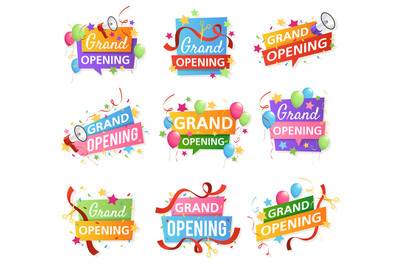 Grand opening. Festive event ceremony opening invitation, promo banner