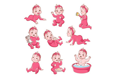 Baby girl. Cute infant with different emotions happy child, crying gir