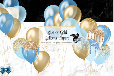 Blue and Gold Balloons Clipart