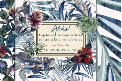 Tropical vector hibiscus set