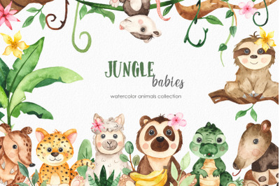 Watercolor jungle babies animals. Clipart, frames, cards, patterns
