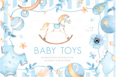 Baby Toys Watercolor Clip Arts