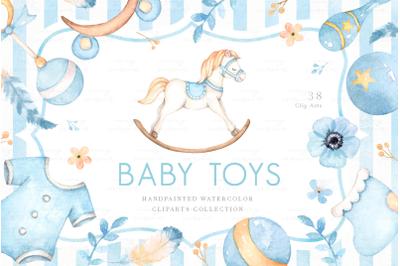 Baby Toys Watercolor Clip Arts