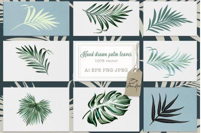 Jungle palm vector leaves set