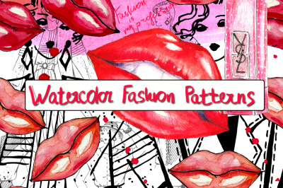 Watercolor fashion patterns