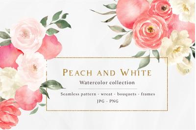 Peach and White. Trendy season