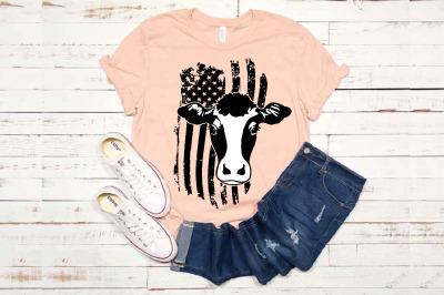 Cow USA Flag SVG cowboy 4th July Farm Milk 1672S