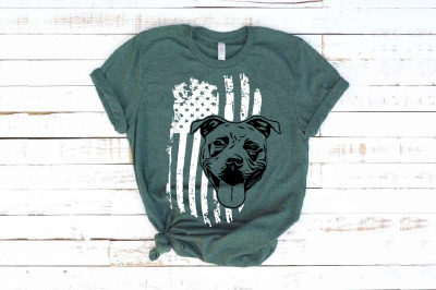 Pit bull USA Flag United States 4th july Bulldogs Pitbull 1671s