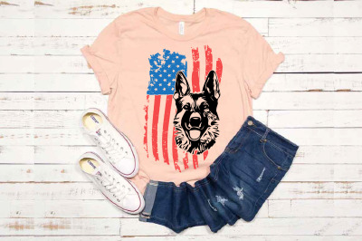 German shepherd USA Flag Dog 4th July Breed K-9 1670S