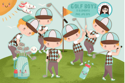 Golf boys clipart