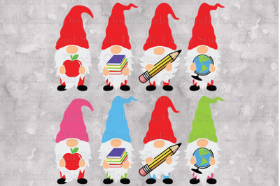 School Gnomes SVG Cut Files, School Gnomes Clipart