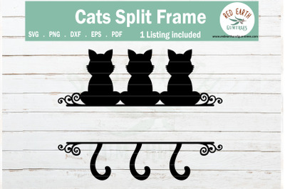 Cat split monogram frame svg, sitting cats SVG,PNG,DXF,EPS