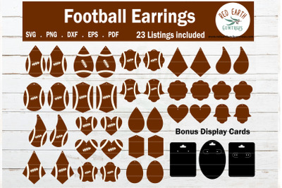 Football earrings template with display card SVG,PNG,DXF,EPS