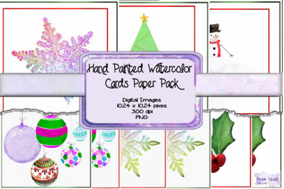 Hand Painted Watercolor Holiday Cards Paper Pack
