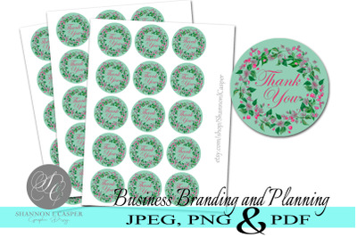 Floral Wreath Thank You Sticker Cut Files